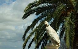 Águia de pedra branca contra os ramos de céu azul e de palmeira Foto de Stock