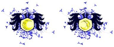 águia Dois-dirigida com a lua isolada ilustração royalty free