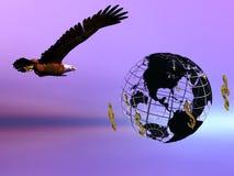 Águia e mundo do dólar. Fotografia de Stock