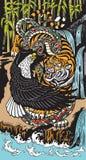Águia e serpente simbólicas do tigre em uma paisagem ilustração stock