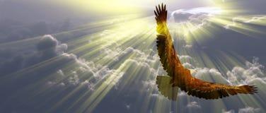 Águia no vôo acima das nuvens ilustração royalty free