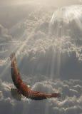 Águia no vôo acima das nuvens ilustração do vetor