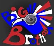 Águia video dos sistemas de vigilância no logotipo vermelho-branco-azul do negócio do big brother da cor Fotos de Stock Royalty Free