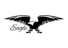 Águila americana negra con el icono separado de las alas stock de ilustración