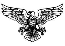 Águila blanco y negro de la heráldica ilustración del vector