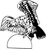 Águila en una piedra redonda Fotos de archivo libres de regalías