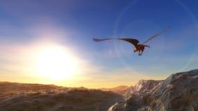 águila que vuela sobre el mar en la baja altitud ilustración del vector
