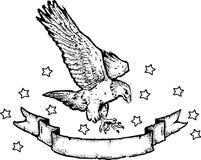 Águila y bandera americanas   Foto de archivo