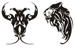 Águila y jefe Two-headed de los símbolos de un león Fotos de archivo