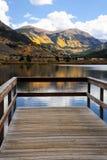 Álamos tembloses cambiantes sobre un lago Imagenes de archivo