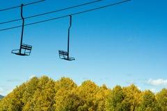 Álamos tremedores e elevador de esqui Fotografia de Stock Royalty Free