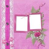 Álbum cor-de-rosa para fotos com calças de brim Fotos de Stock Royalty Free