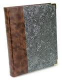 Álbum de foto con el libro de lujo de la textura del cordón de la plata del estampado de flores de la materia textil de la hormig Foto de archivo