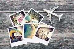 Álbum de fotografia do viajante da opinião do curso do plano da foto fotos de stock