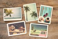 Álbum de fotografias do verão na tabela de madeira imagens de stock royalty free