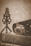 Álbum de la vela, de la rosa y de foto Foto de archivo libre de regalías