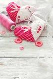 Álbum de recortes ajustado para o dia de Valentim Fotos de Stock Royalty Free