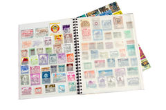 Álbum de selo do porte postal Fotos de Stock