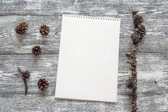 Álbum vacío del arte y algunos conos en la mesa gris Lugar para el texto Imagen de archivo libre de regalías