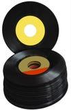 Álbuns de registro brancos do vinil do vintage 45 RPM do fundo Fotos de Stock Royalty Free