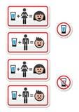 Álcool bebendo dos povos - triste e ícones felizes da cara ajustados Imagens de Stock Royalty Free