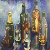 ?lcool brilhante de tiragem das garrafas, quadro quadrado ilustração do vetor