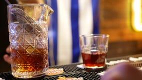 Álcool da barra do cocktail filme
