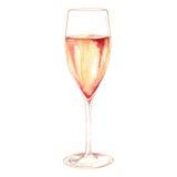 Álcool do vidro de vinho espumante do champanhe da aquarela isolado Imagem de Stock