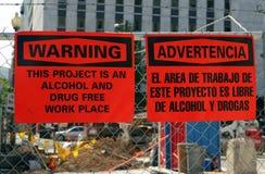 Álcool, local de trabalho droga-livre Fotografia de Stock