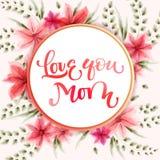 Ámele diseño moderno de la tarjeta de felicitaciones de la caligrafía de la mamá libre illustration