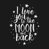 Ámele a la cita inspirada de la luna y de la parte posterior Imagenes de archivo