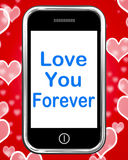 Ámele para siempre en la dedicación sin fin de los medios del teléfono para la eternidad Foto de archivo libre de regalías