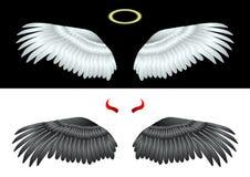 ?ngel blanco y negro de las alas ilustración del vector