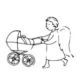 Ángel con hombre lindo del carro de bebé un pequeño Imagenes de archivo