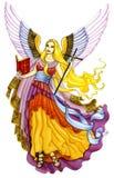 Ángel con la biblia y la cruz Imagenes de archivo