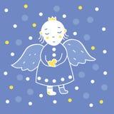 Ángel con un corazón en la nieve - cuadrado Imagen de archivo libre de regalías