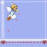 Ángel con una flor en una nube y una página del color Foto de archivo libre de regalías