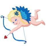 Ángel de la historieta de la tarjeta del día de San Valentín con un arqueamiento Fotos de archivo