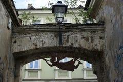 Ángel de la lata como símbolo de Uzupis Fotografía de archivo