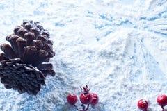 Ángel de la nieve con los conos y los amelas Fotografía de archivo libre de regalías