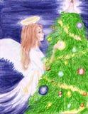 Ángel de la nieve de la Navidad Imagen de archivo libre de regalías