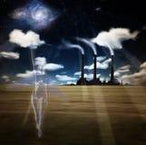 Ángel de la noche de la fábrica Imagenes de archivo