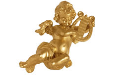 Ángel de oro con la arpa Fotografía de archivo libre de regalías