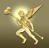 Ángel de oro w/heart del art déco stock de ilustración