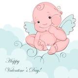 Ángel del bebé en una nube azul Foto de archivo libre de regalías
