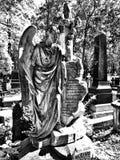 Ángel del cementerio Mirada artística en blanco y negro Fotos de archivo