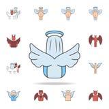 ángel del icono trasero del esquema del campo de color Sistema detallado de iconos del ángel y del demonio Diseño gráfico superio stock de ilustración