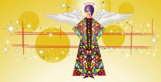 Ángel del vidrio manchado con las alas   Foto de archivo libre de regalías