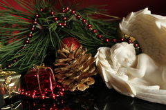 Ángel del yeso - fondo de la Navidad Imagen de archivo libre de regalías