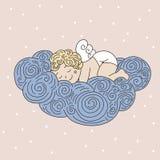 Ángel el dormir en la nube Ejemplo dibujado mano del vector con el sle Fotografía de archivo libre de regalías